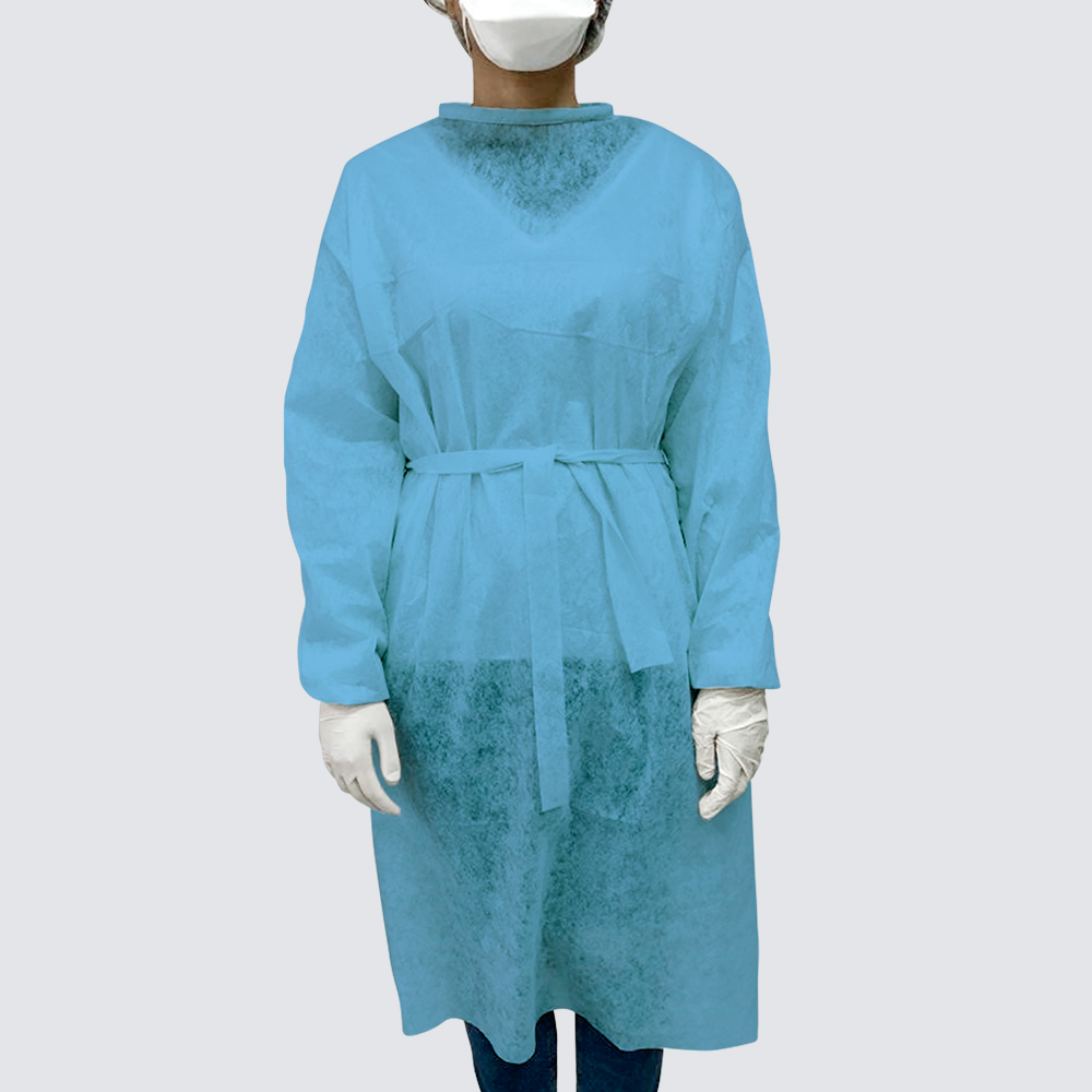 Single-use non-woven protective gown
